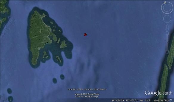Location of the first basking shark sighted in the Bay of Fundy in 2013. Sighting made my Laurie Murison on July 3, 2013