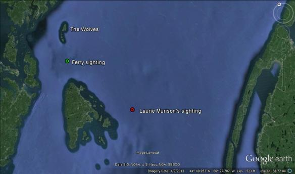 The approximate location of the basking shark seen from the ferry on July 3, 2013 and another sighting made by Laurie Murison that same day.